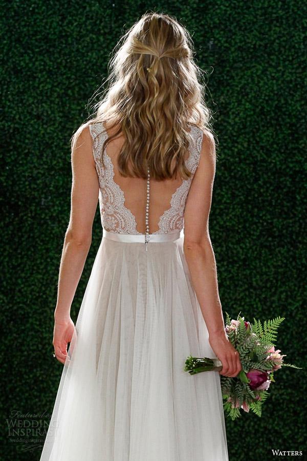 Primavera watters 2015 sem mangas de noiva estilo vestido de noiva 6049b Santina ilusão vista traseira