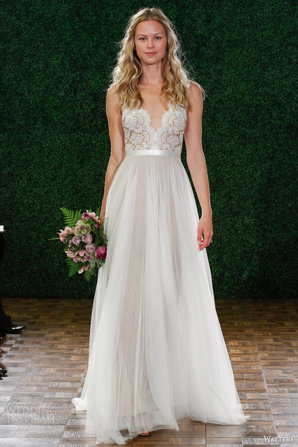 watters spring 2015 bridal sleeveless wedding dress style 6049b santina