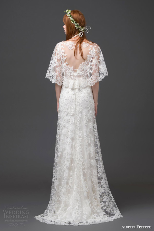 alberta ferretti bridal 2015 lace wedding dress flutter sleeves antares back view