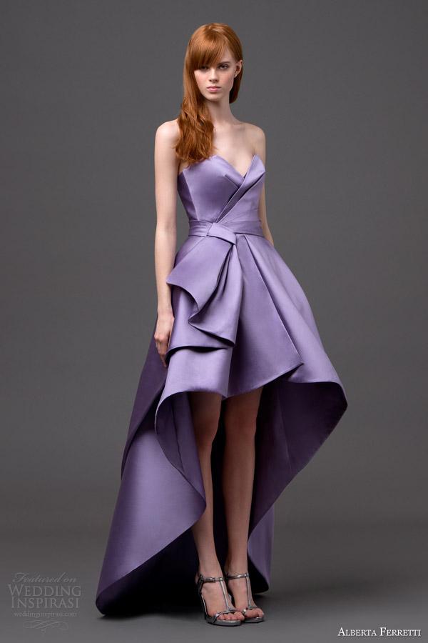 alberta ferretti bridal 2015 strapless high low wedding dress lilac pegaso