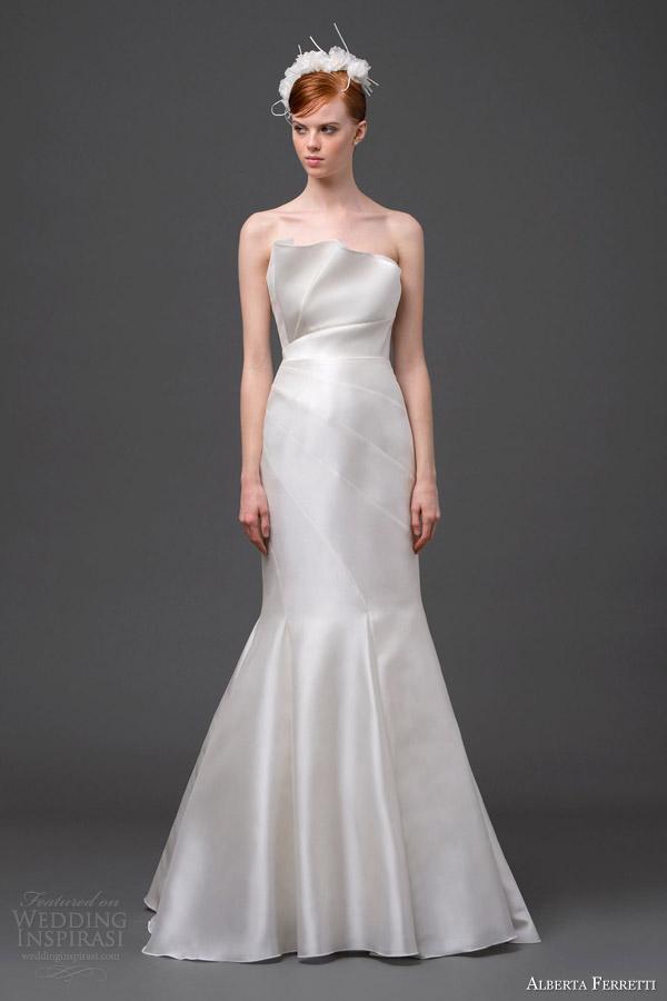 alberta ferretti bridal 2015 strapless wedding dress cassiopeia crumbcatcher neckline