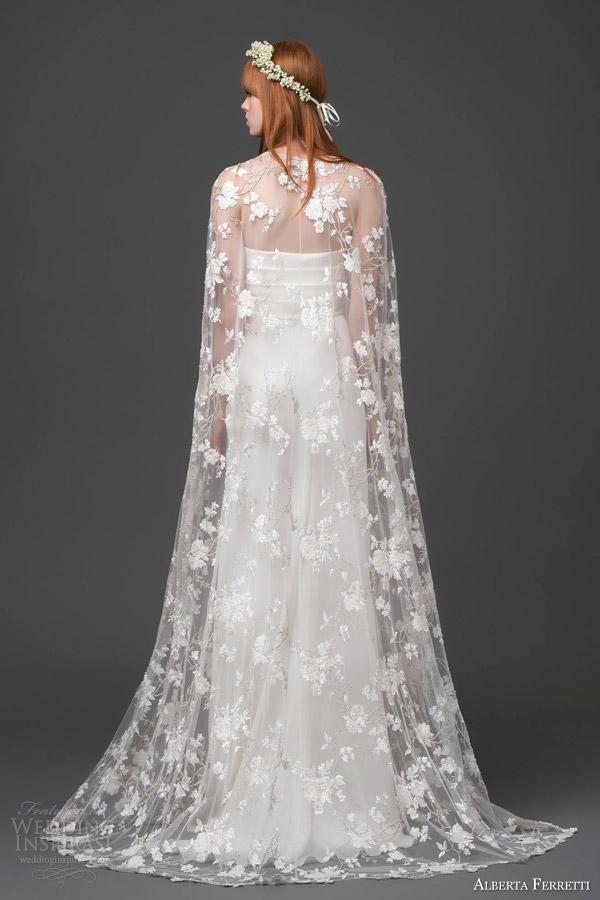 alberta ferretti bridal 2015 strapless wedding dress lace cape altair back view train