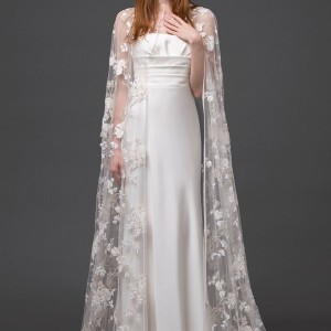 alberta ferretti bridal 2015 strapless wedding dress lace cape altair front view train