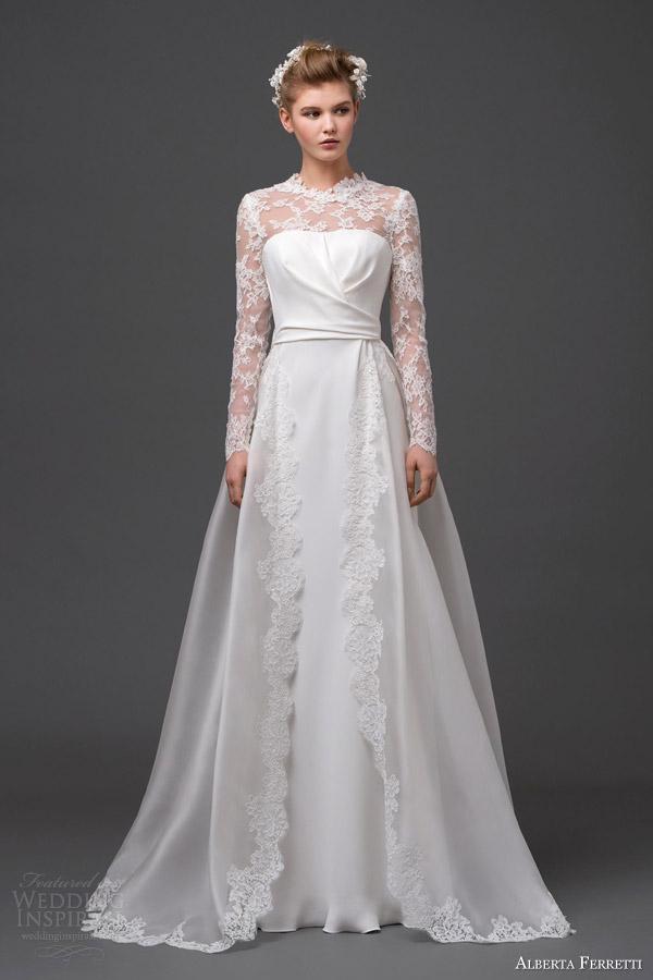 alberta ferretti bridal 2015 wedding dress meissa long sleeve illusion over skirt