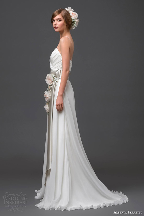 alberta ferretti wedding dresses 2015 adhara bridal gown floral sash side view