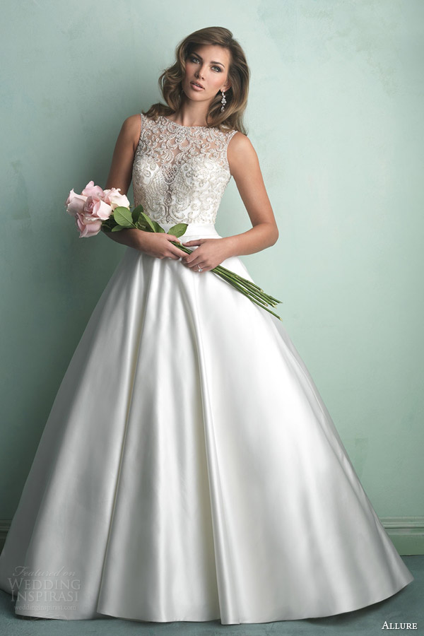 allure bridal fall 2014 ball gown wedding dress crystal beading style 9152