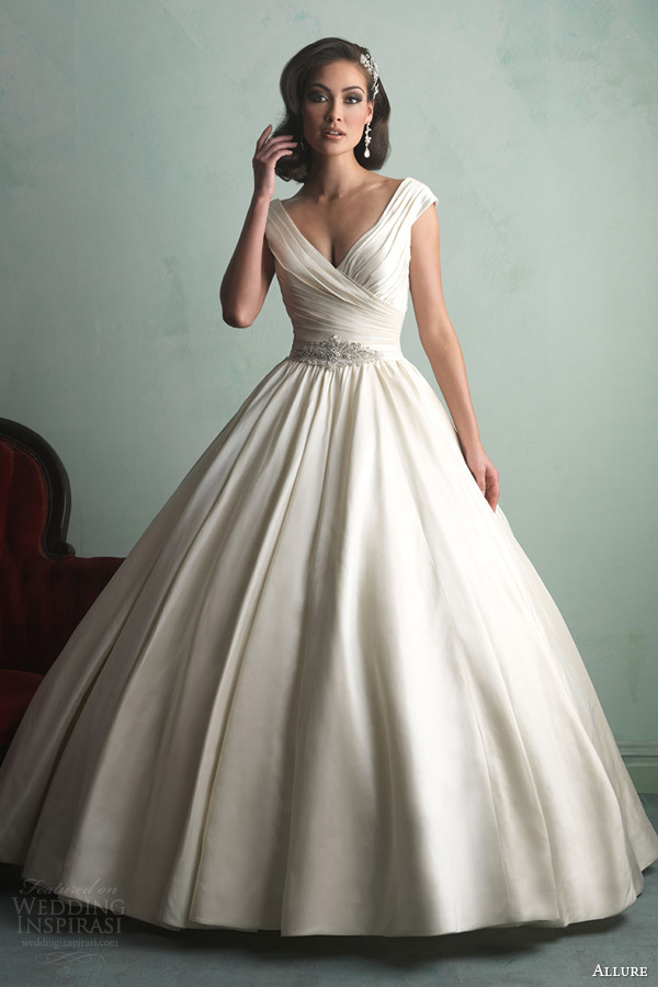 allure bridal fall 2014 off shoulder cap sleeve ball gown wedding dress style 9155