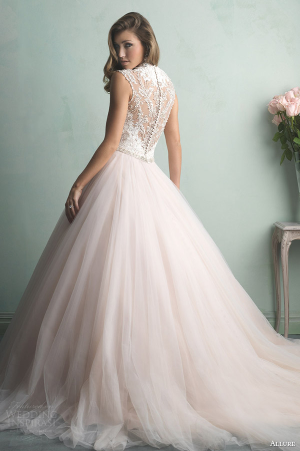 allure bridals fall 2014 champagne pink color wedding dress style 9163 illusion back