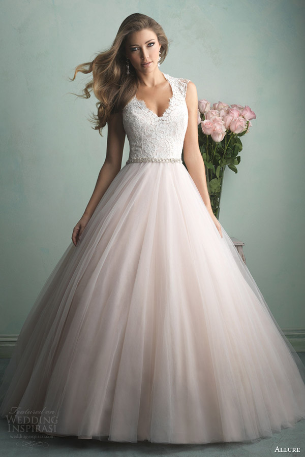 Allure Bridals Fall 2017 Champagne Pink Color Wedding Dress Style 9163