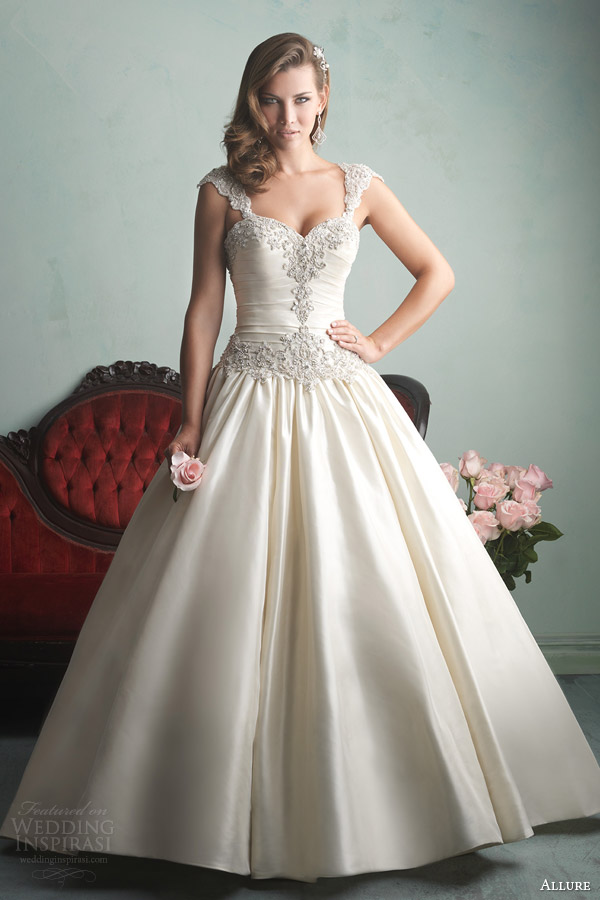allure bridals fall 2014 ivory ball gown wedding dress cap sleeves style 9161