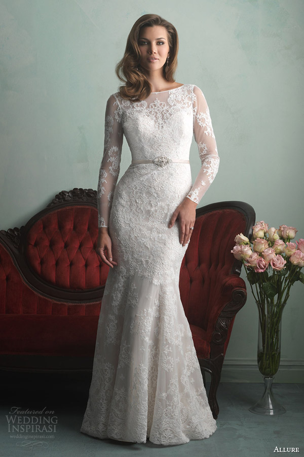 allure bridals fall 2014 long sleeve lace wedding dress style 9167