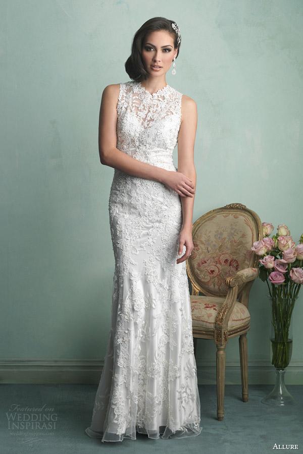 allure bridals fall 2014 sleeveless lace sheath wedding dress style 9160