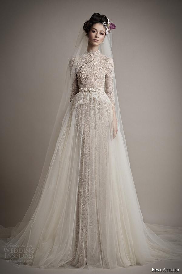 ersa atelier 2015 2016 eirene wedding dress high neck tulle overskirt