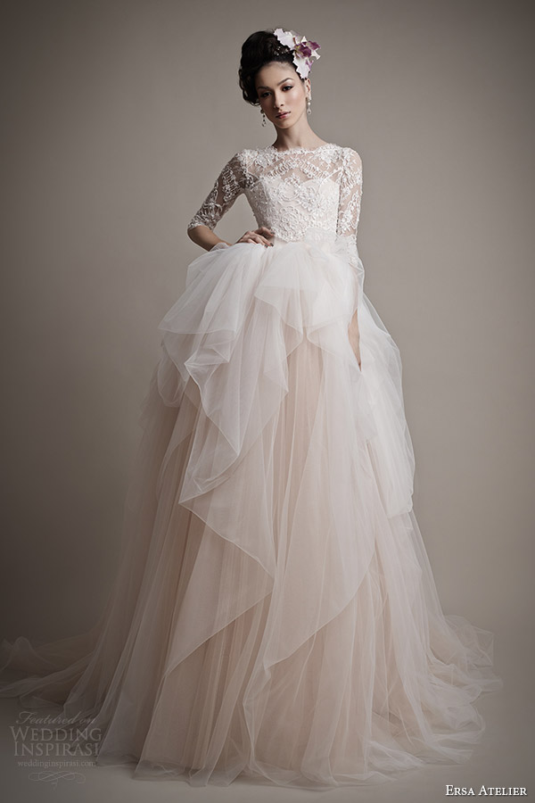 Ersa atelier spring 2015 wedding dresses wedding inspirasi for Red wedding dresses with sleeves