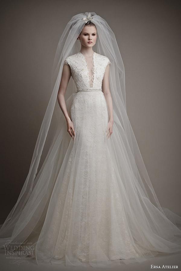 ersa atelier 2015 bridal didda wedding dress cap sleeves tulle overskirt