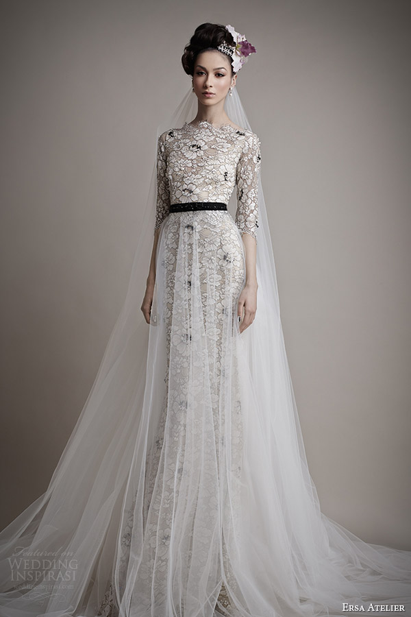 ersa atelier bridal 2015 kahina black colored lace wedding dress sleeves tulle overskirt