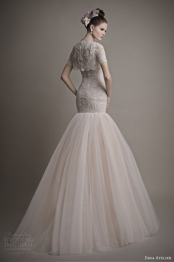ersa atelier bridal 2015 pretty wedding dress short sleeve top elizabeth back