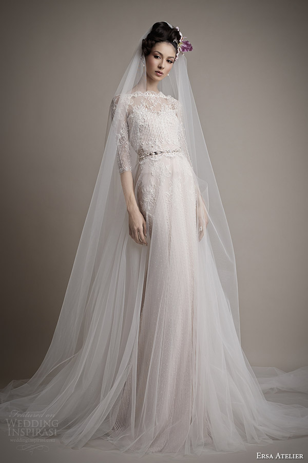 ersa atelier wedding dress 2015 melisse gown with illusion neckline sleeve top tulle overskirt