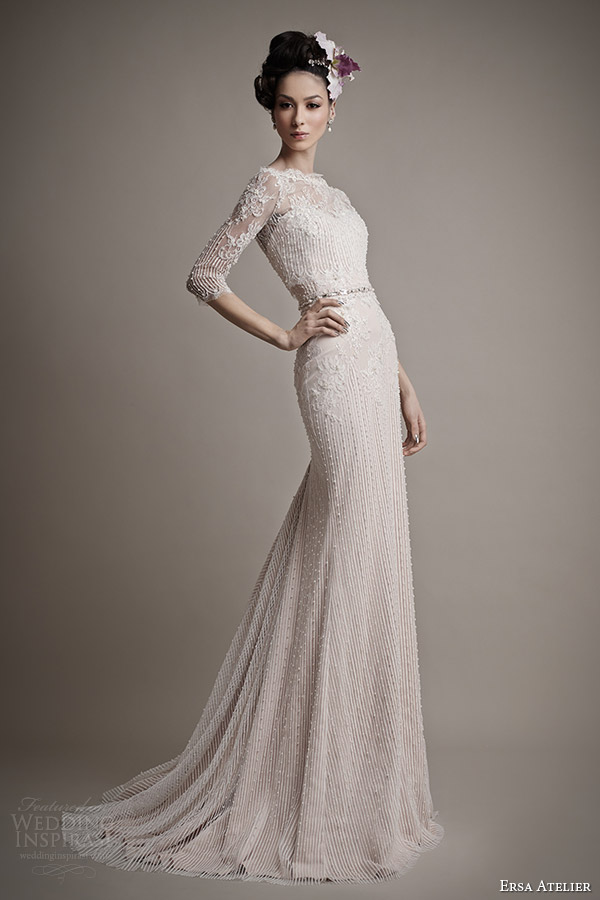 Ersa atelier spring 2015 wedding dresses wedding inspirasi for Wedding dress with illusion top