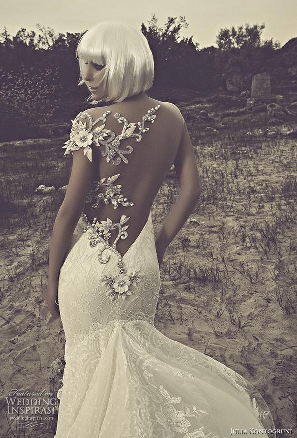 julia kontogruni 2015 mermaid wedding dress illusion back train close up view