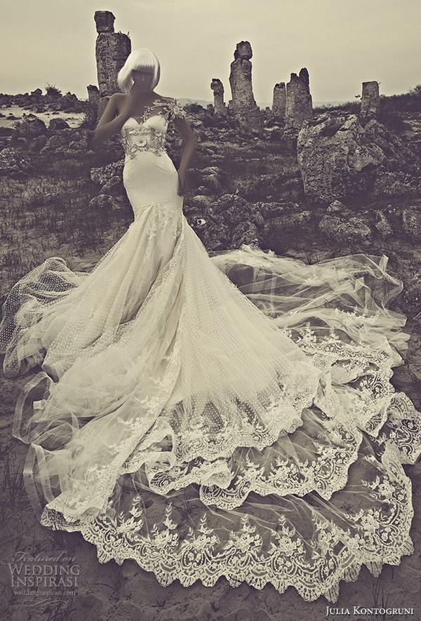 julia kontogruni 2015 mermaid wedding dress illusion front view