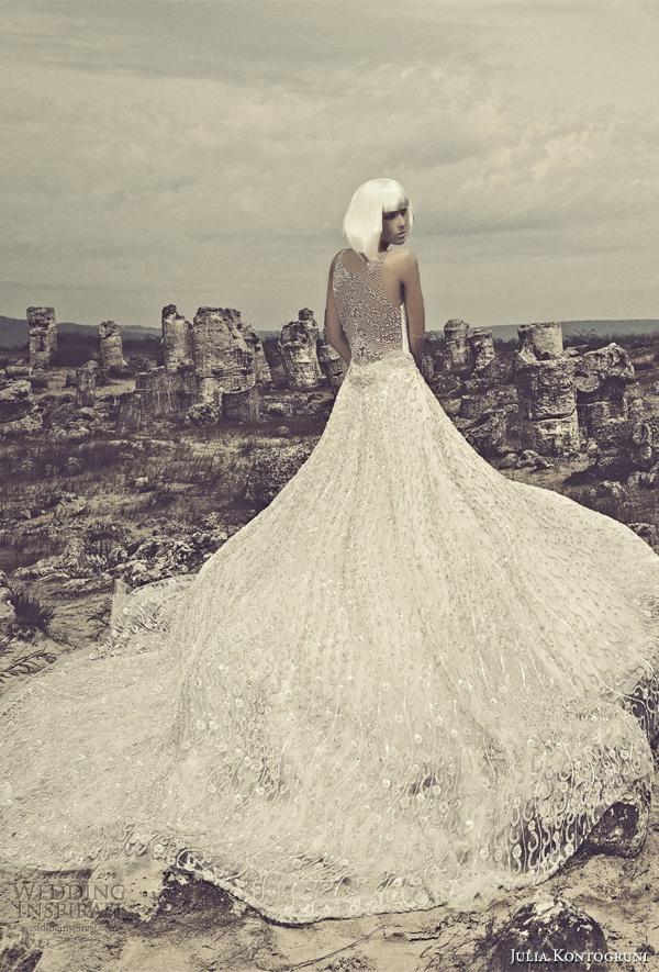 julia kontogruni  2015 sleeveless wedding dress illusion back view