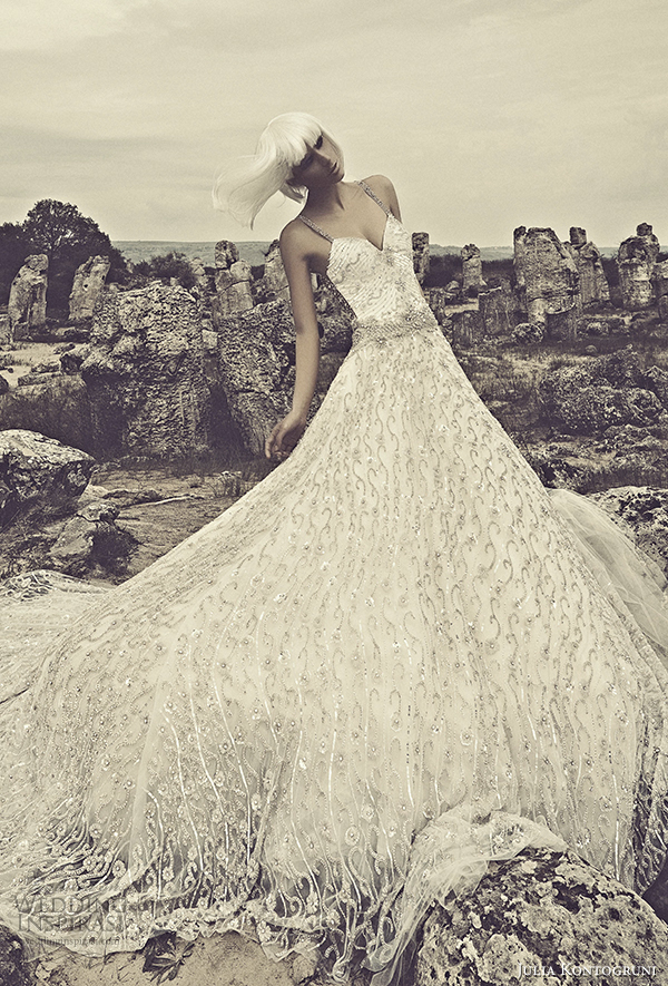 julia kontogruni 2015 sleeveless wedding dress illusion front view