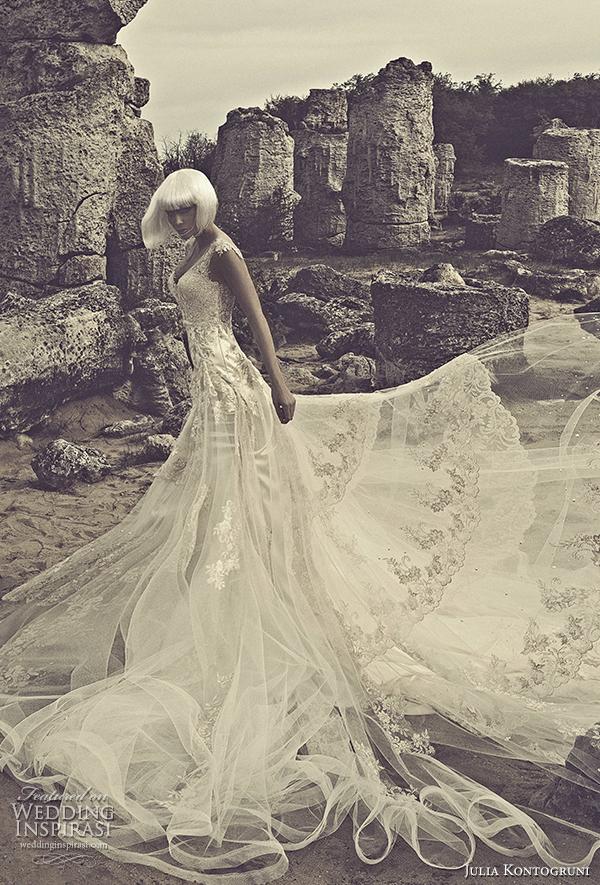 julia kontogruni 2015 wedding dress cap sleeves front view