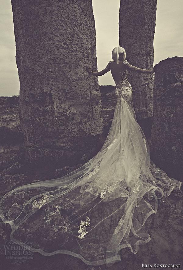 julia kontogruni 2015 wedding dress illusion long sleeves back view train
