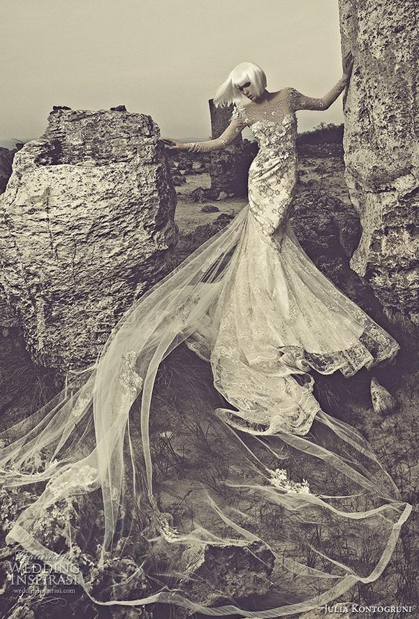 julia kontogruni 2015 wedding dress illusion long sleeves front view
