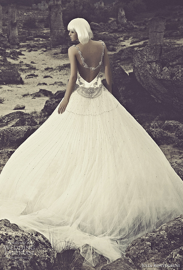 julia kontogruni 2015 wedding dress illusion neckline back view