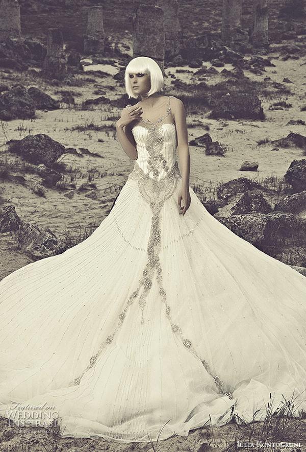 julia kontogruni 2015 wedding dress illusion neckline front view