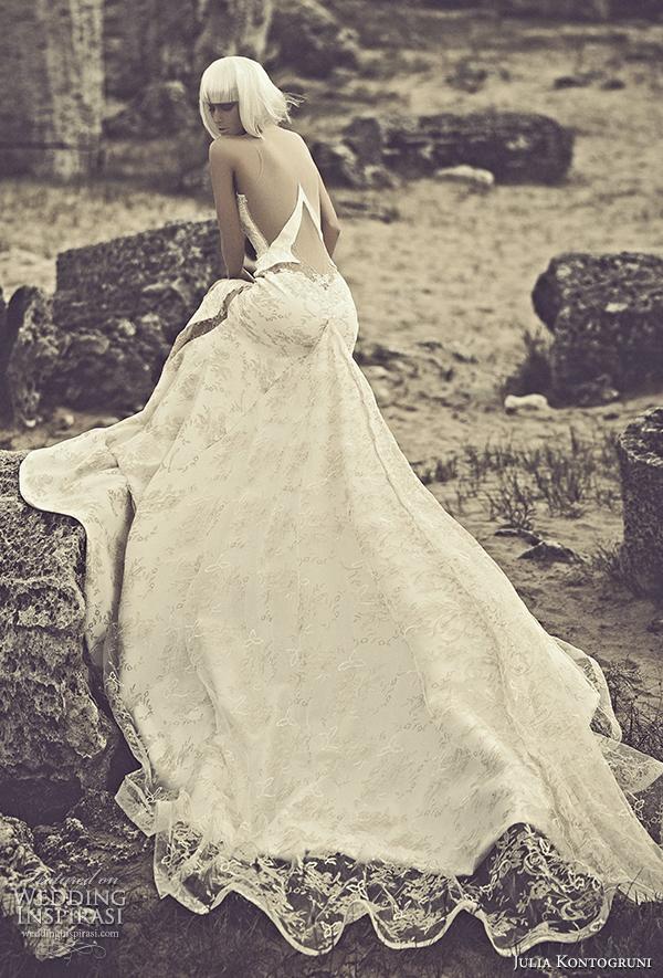 julia kontogruni 2015 wedding dress panel skirt back view train