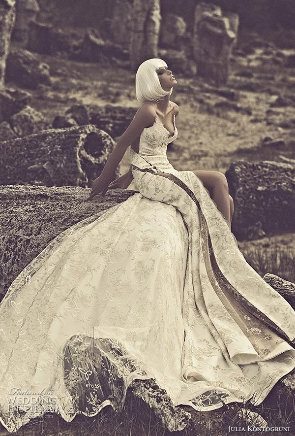 julia kontogruni 2015 wedding dress panel skirt front view