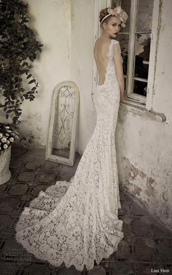 lihi hod bridal 2014 jade lace wedding dress back view train