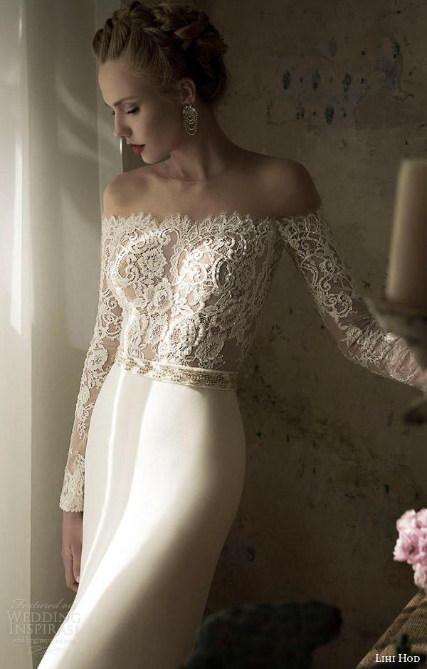 lihi hod spring 2014 blush wedding dress close up lace bodice sleeves