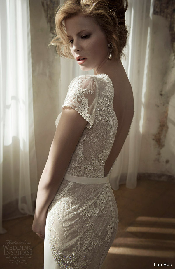 lihi hod wedding dress spring 2014 lay gown cap sleeves close up