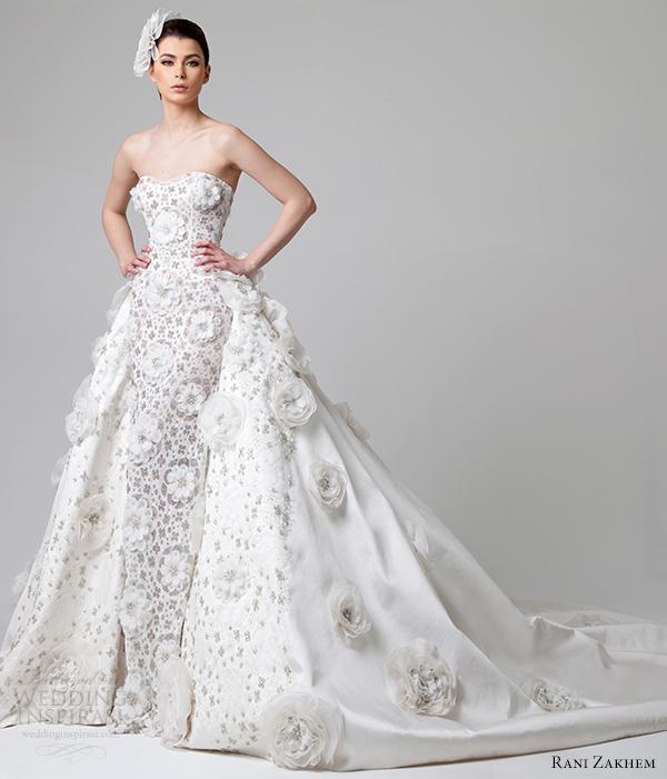 Rani zakhem spring 2014 wedding dresses wedding inspirasi for Wedding dress with overskirt