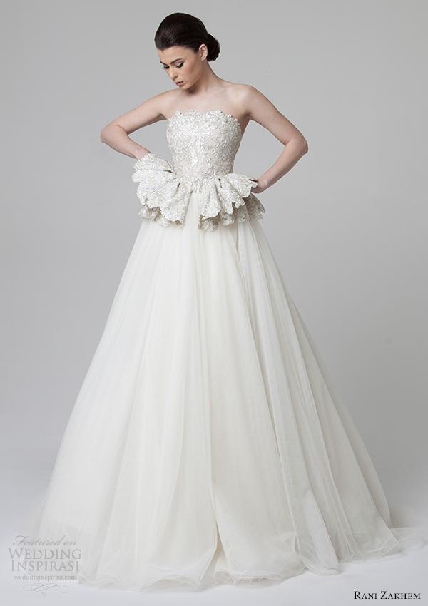 Rani Zakhem Bridal Spring 2014 Wedding Dress Peplum Front View