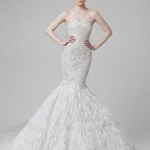 rani zakhem spring 2014 wedding dress mermaid feather skirt front view