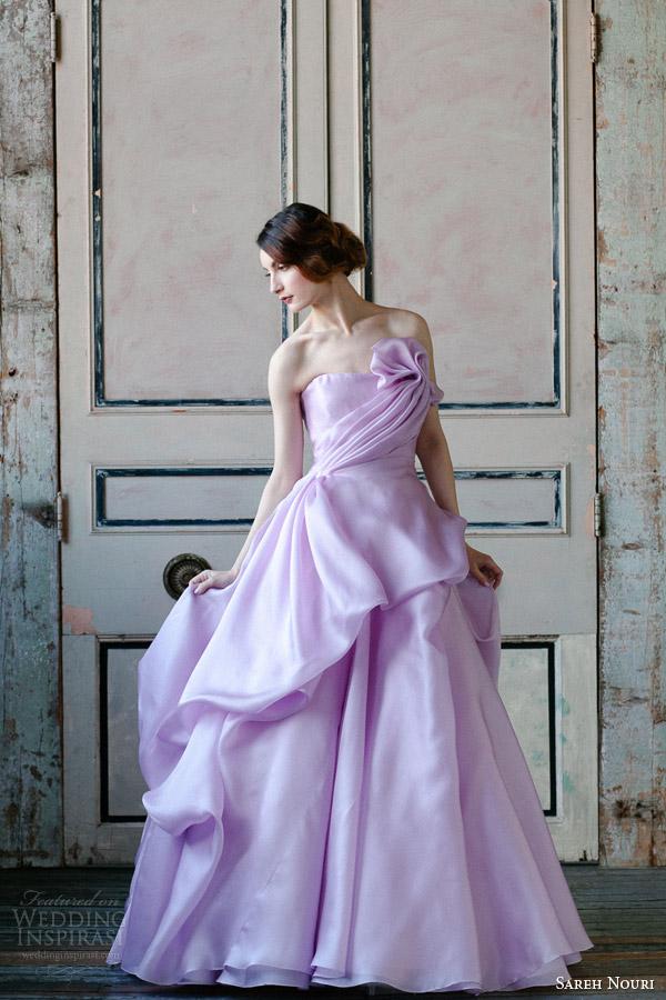 Sareh Nouri Spring 2015 Bridal Orchid Strapless Wedding Dress We Love The Soft Purple
