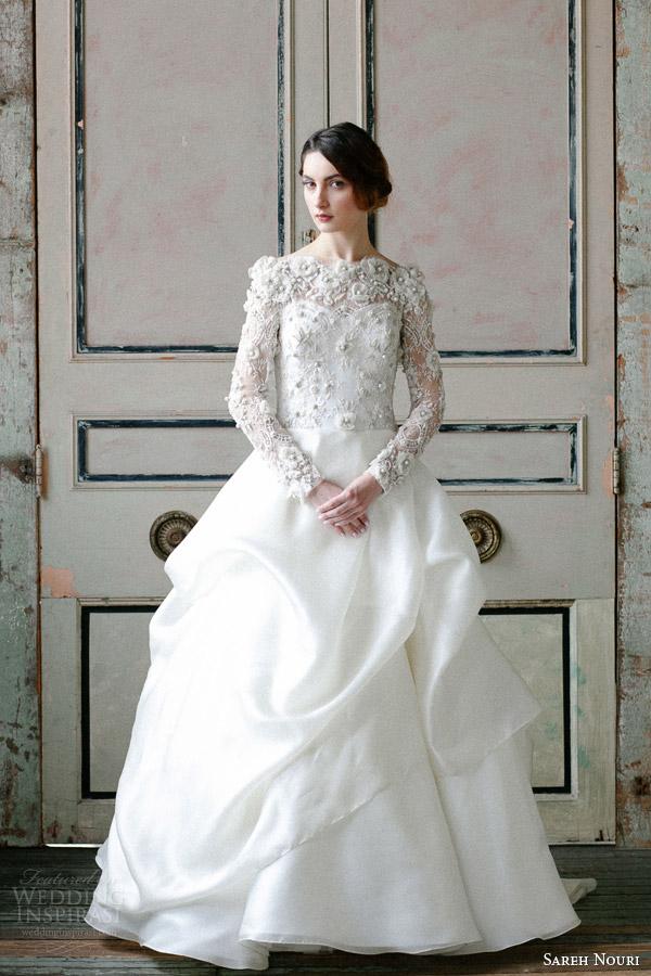 Sareh Nouri Spring 2015 Off Shoulder Long Sleeve Wedding Dress Asi