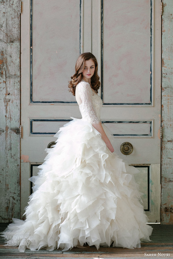 sareh nouri spring 2015 sawyer sleeve ball gown wedding dress