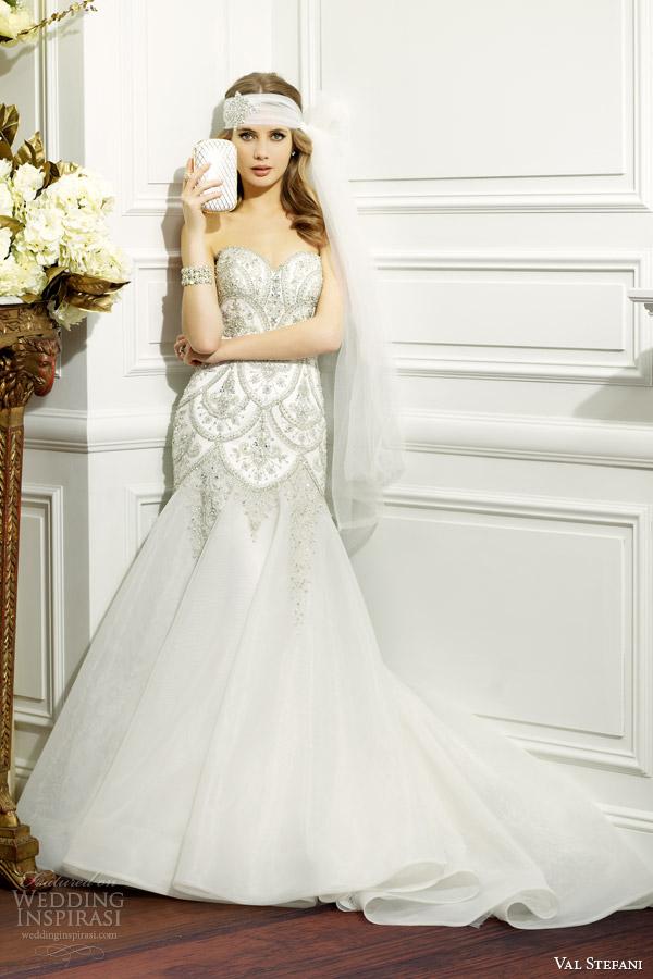 val stefani fall 2014 strapless wedding dress embellished bodice d8075