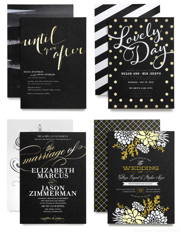 Wedding Paper Divas Foil Stamped Invitation Cards Black White Gold Typography