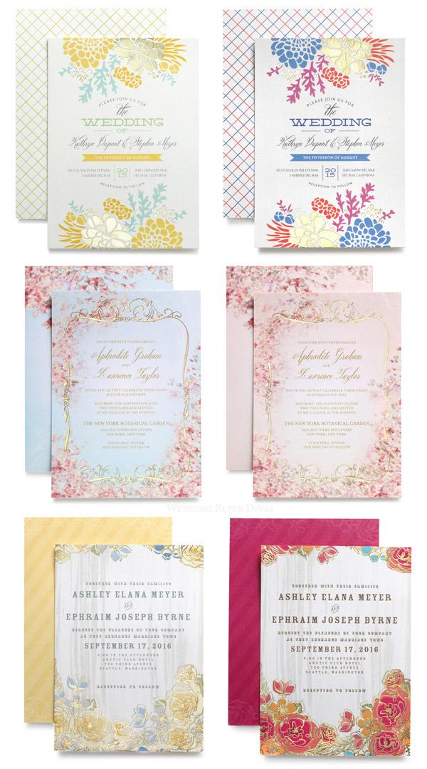 wedding paper divas foil stamped invitations diy goodies With wedding paper divas gold invitations