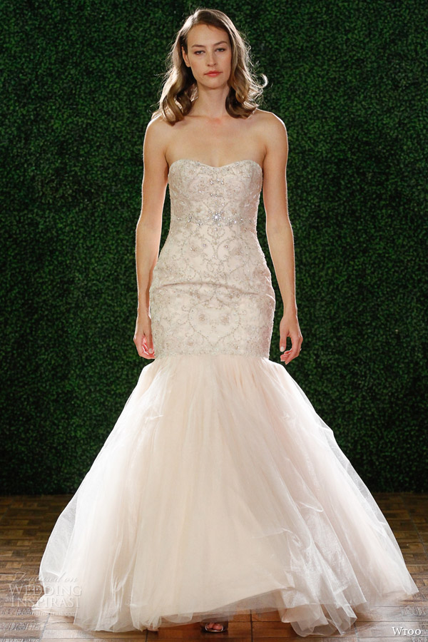 wtoo watters fall 2014 bridal iliana blush strapless fit flare wedding dress