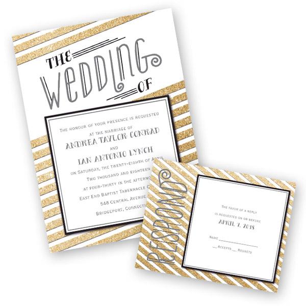 Anns Bridal Bargains Stationery Trends Vintage Illustration Wedding Invitation Gold Glitter Aw35067nfc