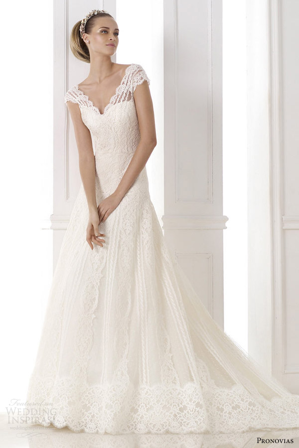 atelier pronovias 2015 kande v neck wedding dress cap sleeves