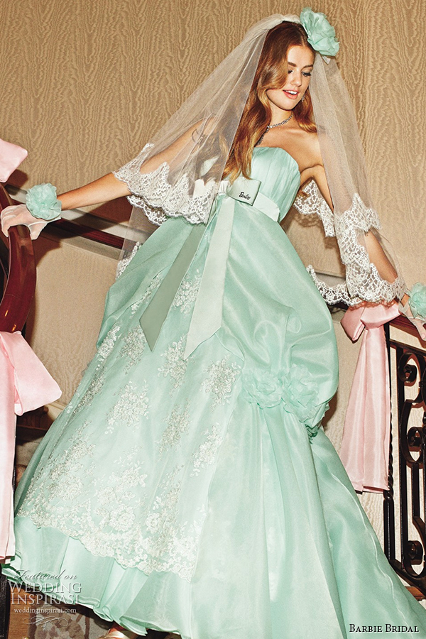 barbie bridal 2014 wedding dress luxurious barbie collection bb0131 green